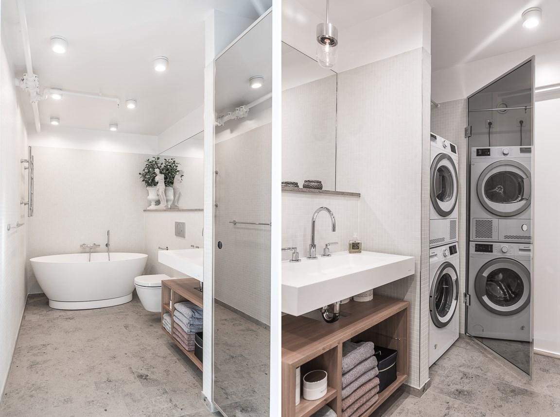 Badrum 1 på entréplan med tvättpelare