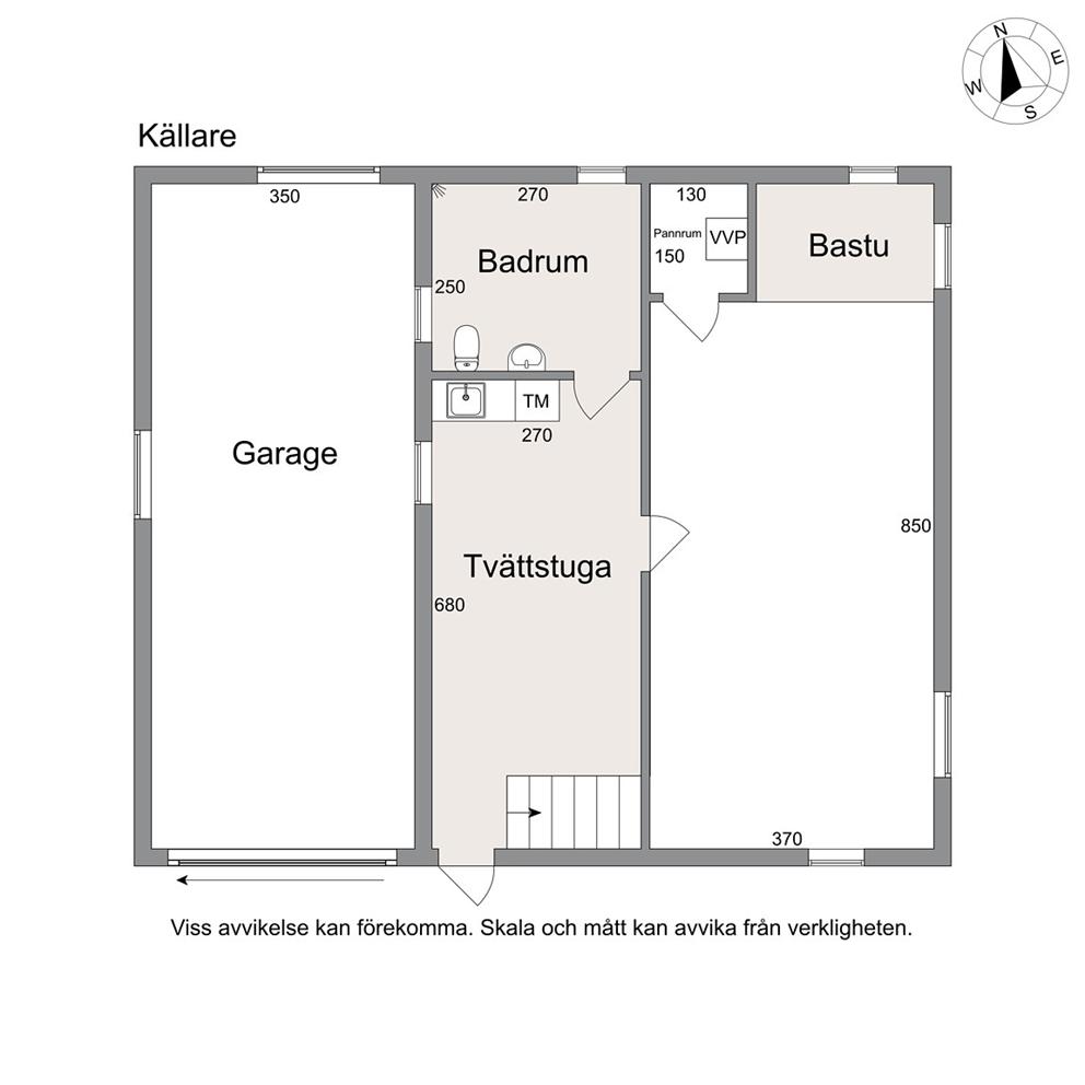 Planritning källare (ej skalenlig)