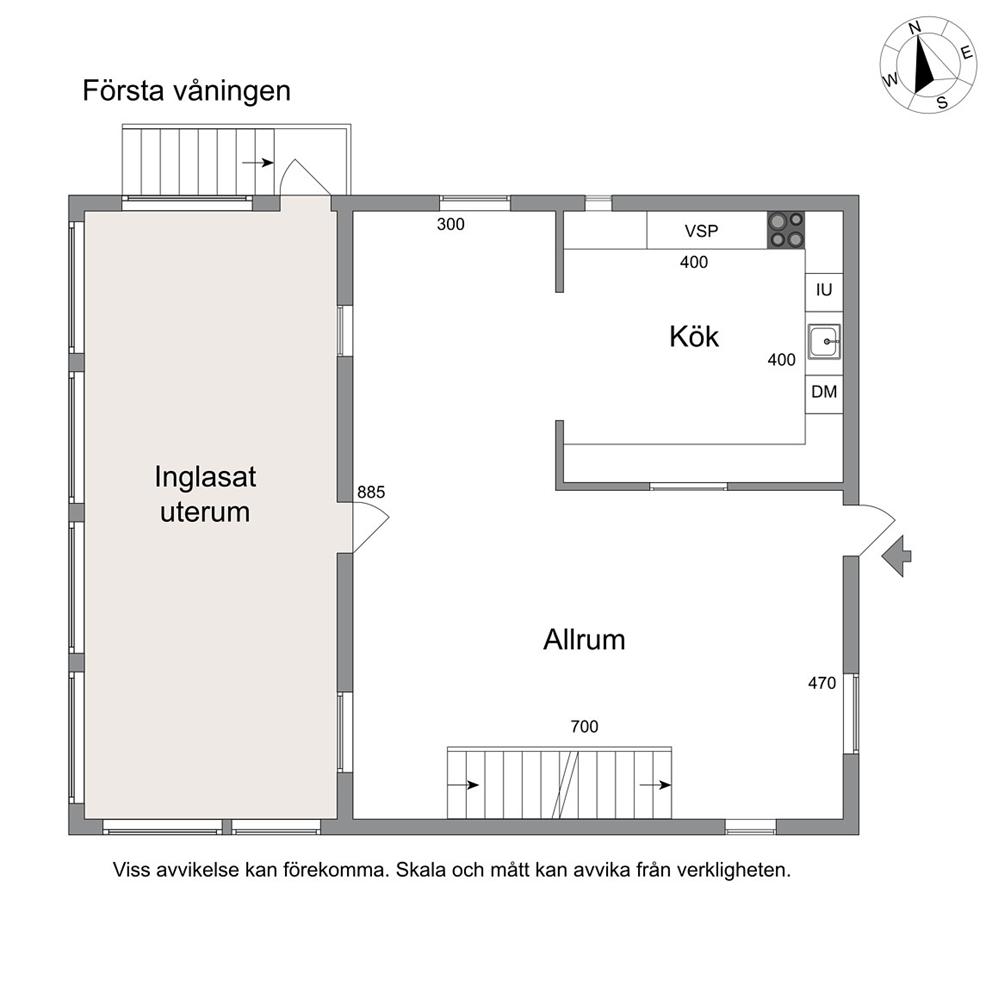 Planritning bottenvåning (ej skalenlig)