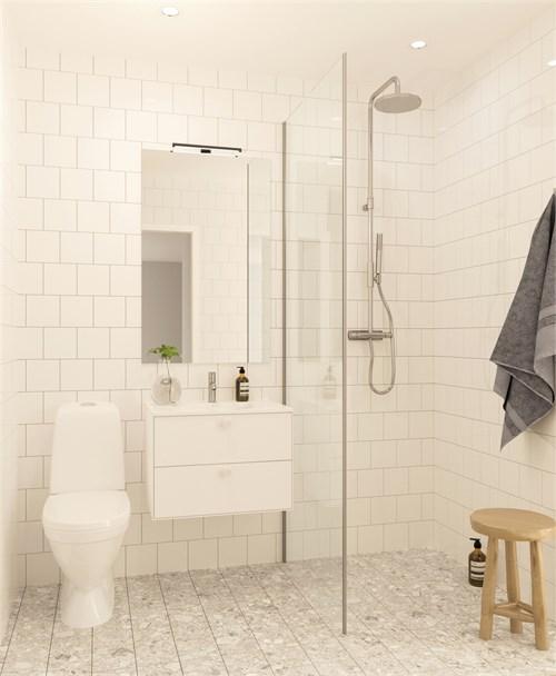 Helkaklade badrum i alla lägenheter