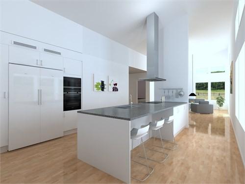 Kök och vardagsrum i öppen planlösning. 107 kvm.