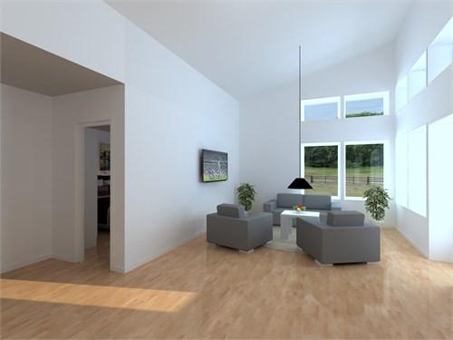 Vardagsrum i huset på 107,5 kvm.
