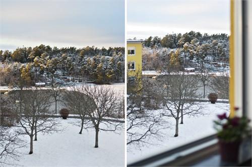 Utsikt från sovrum och balkong