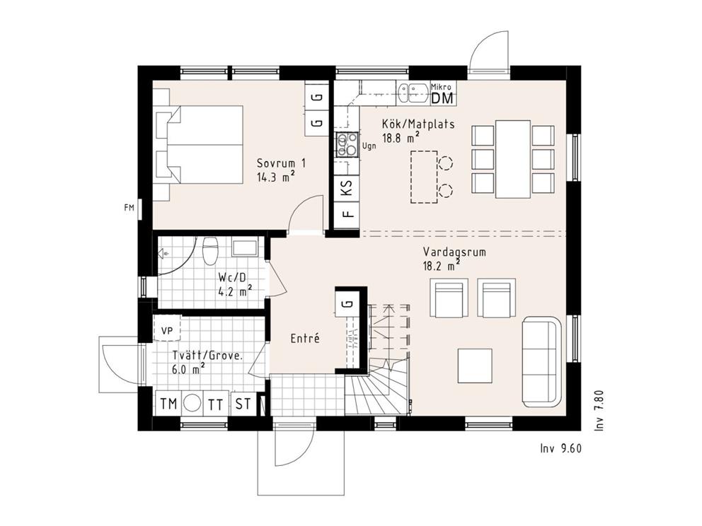Planritning, entréplan, 15EFHI