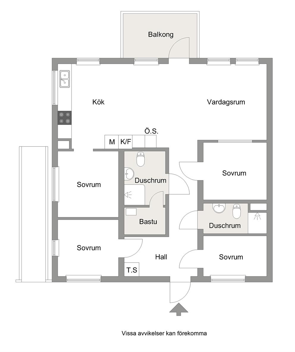 Planritning. Å-Hus F-I, nr 1 & 5